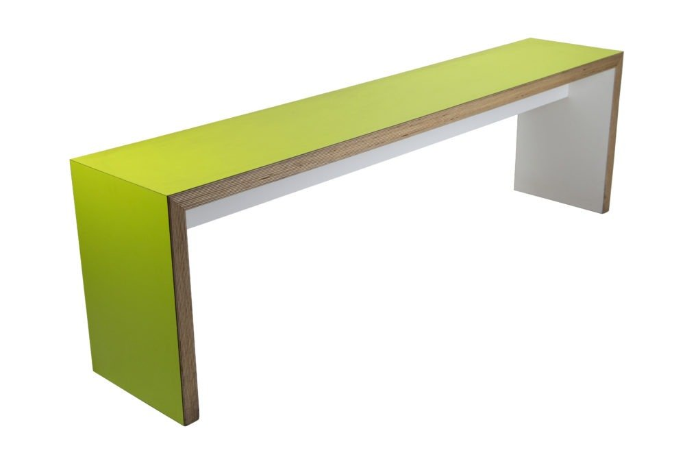 Green slabend bench from a 45 degree angle