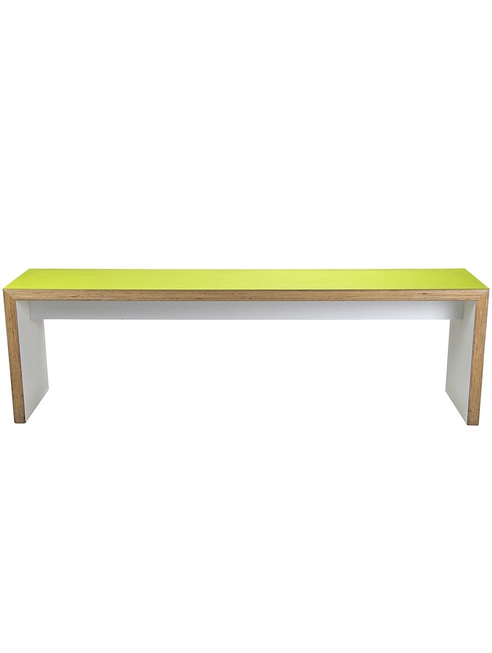 Green slabend bench from the front