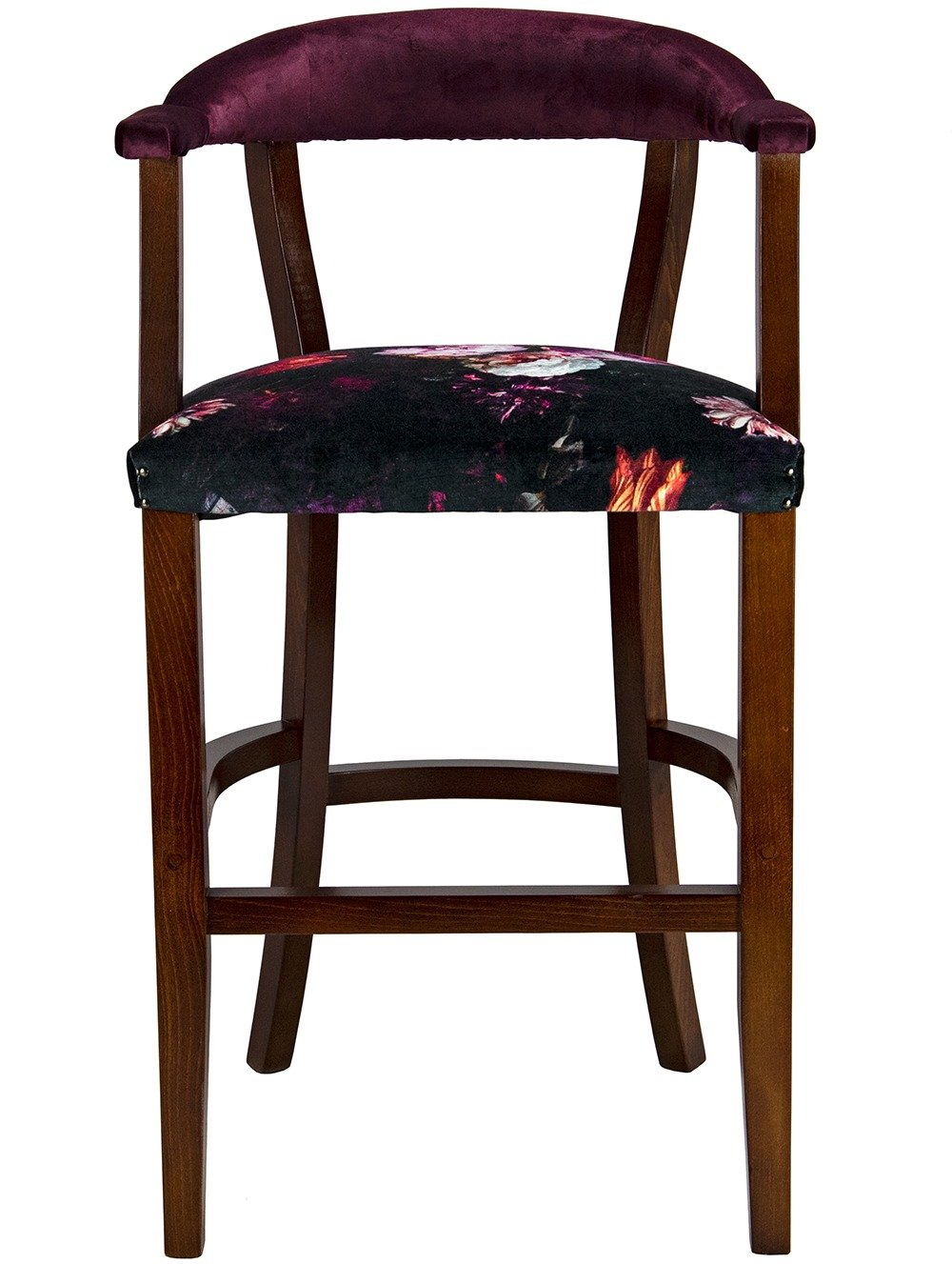 Court High Stool with velvet back from the front