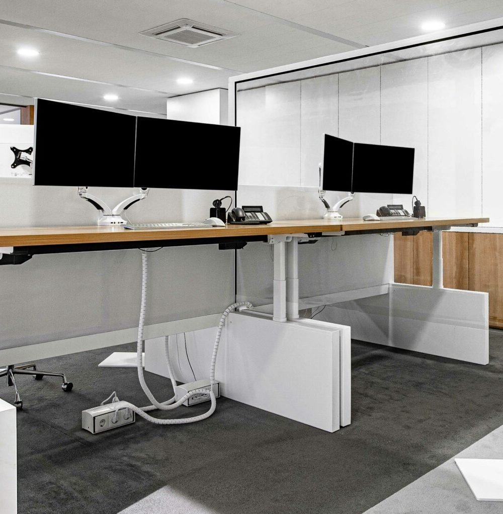 Large Hospitality Shield used as desk partition