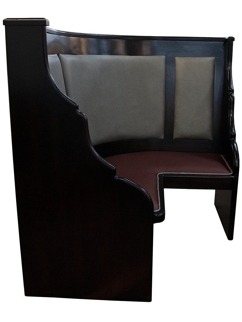 Side image of curved pew
